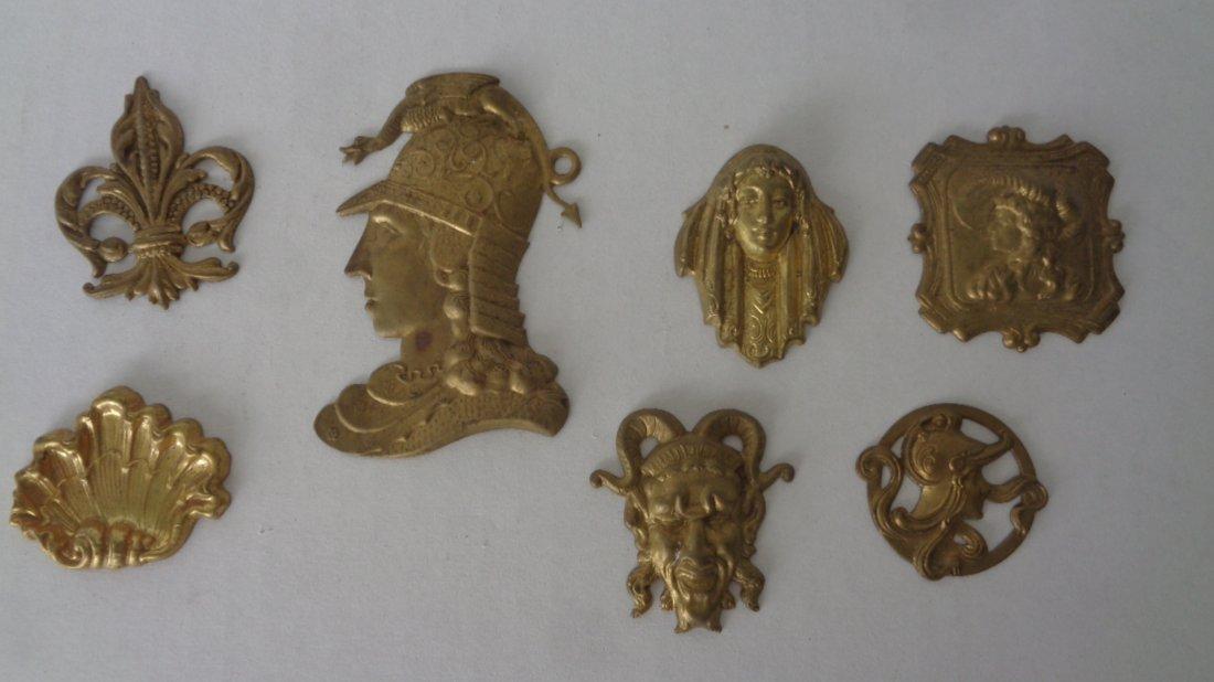 Vintage Brass Engraving Art Deco Figure LOT 7 Pieces .