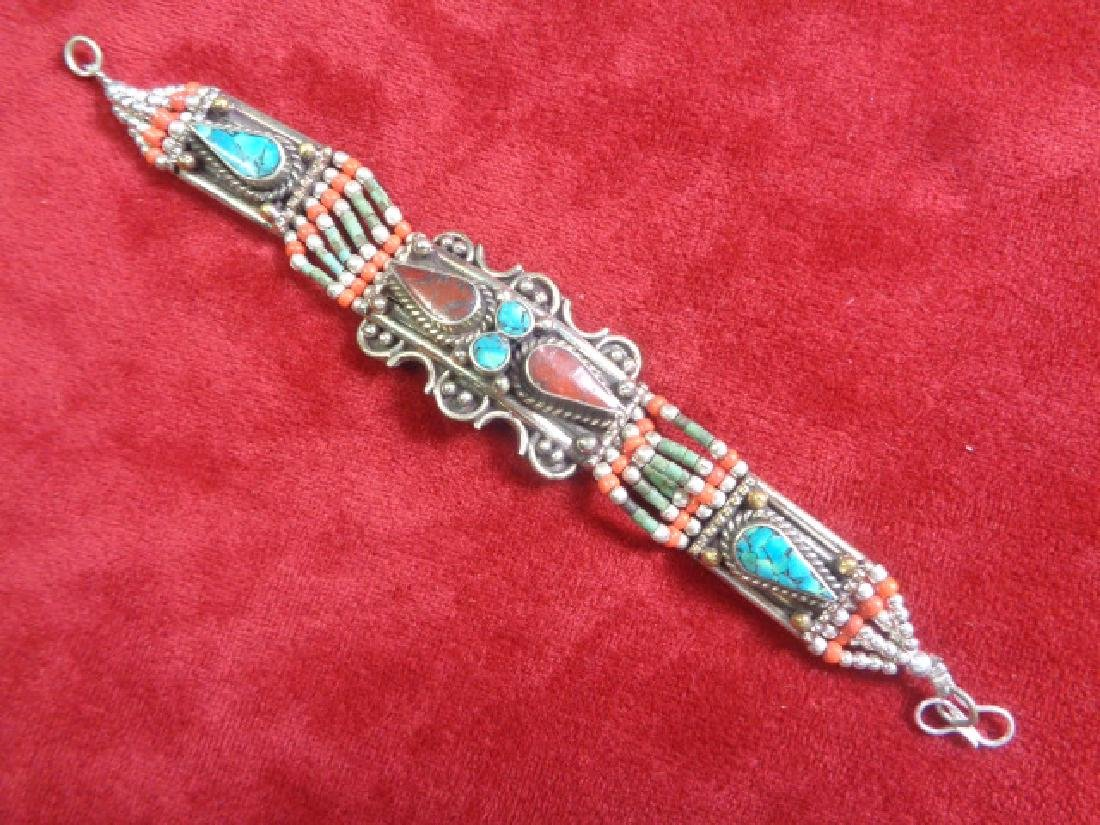 TURQUOISE WITH RED CORAL .925 SILVER Bracelet - 2