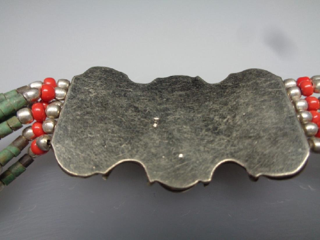 TURQUOISE WITH RED CORAL .925 SILVER Bracelet - 3