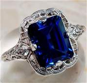 925 Silver (CZ) Blue Sapphire Ring Size:7