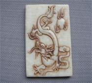 Old China White Jade handcarved dragon Pendants