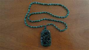 Green Hand Carved Jade Pendant Dragon Necklace