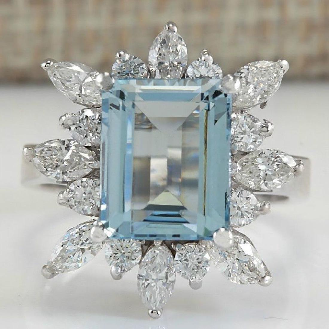 Blue Aquamarine CZ Gemstone 925 Silver:Size 9