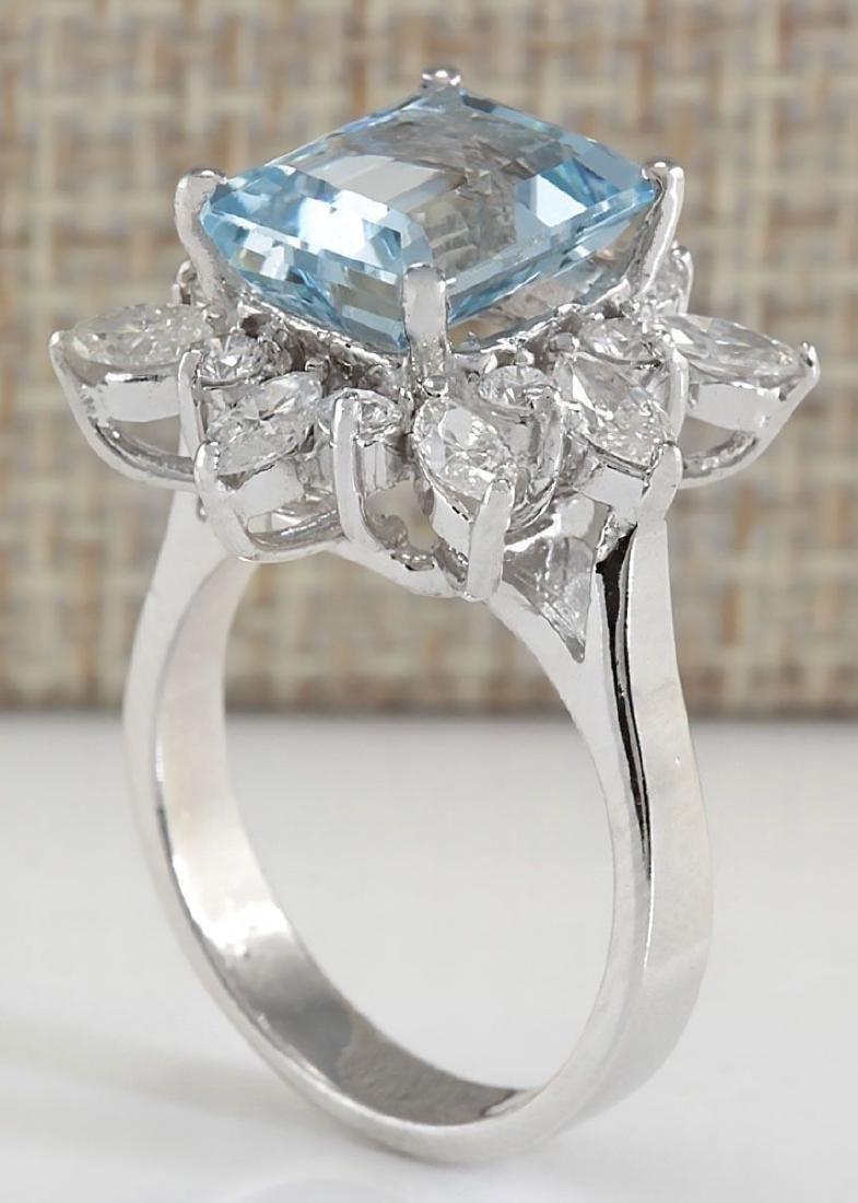 Blue Aquamarine CZ Gemstone 925 Silver:Size 9 - 2