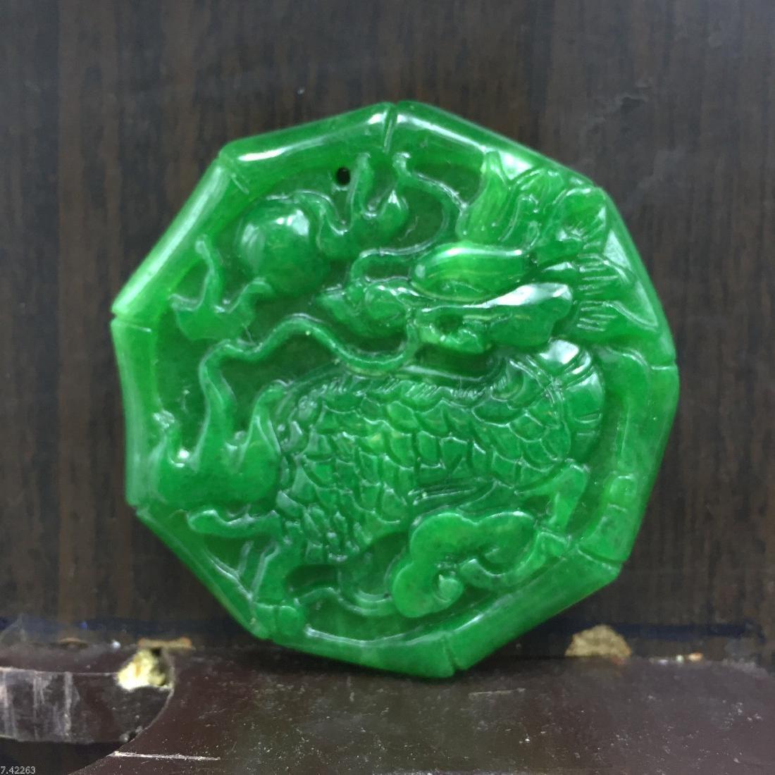 Chinese Hand-carved Green Jadeite jade medallion