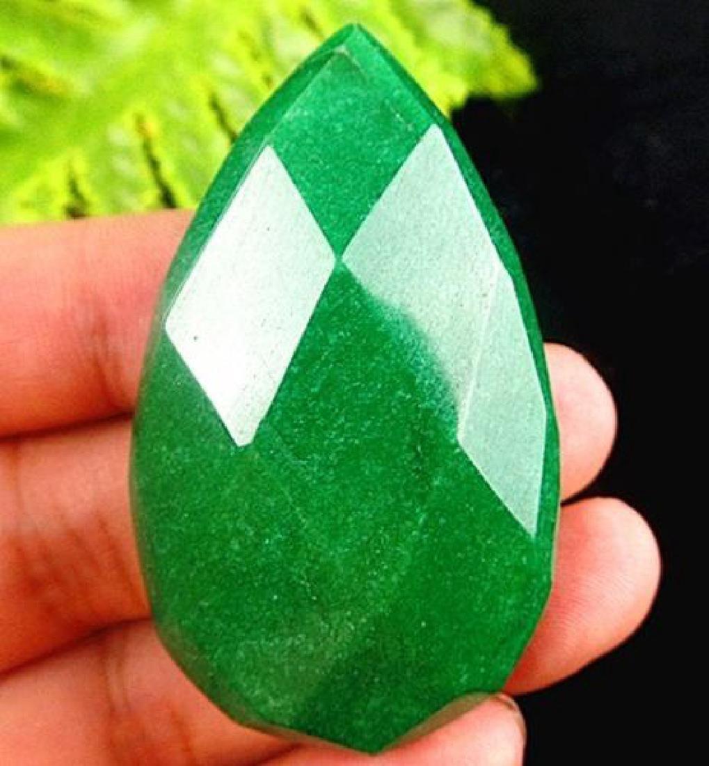 Large Natural Green jade teardrop cabochon