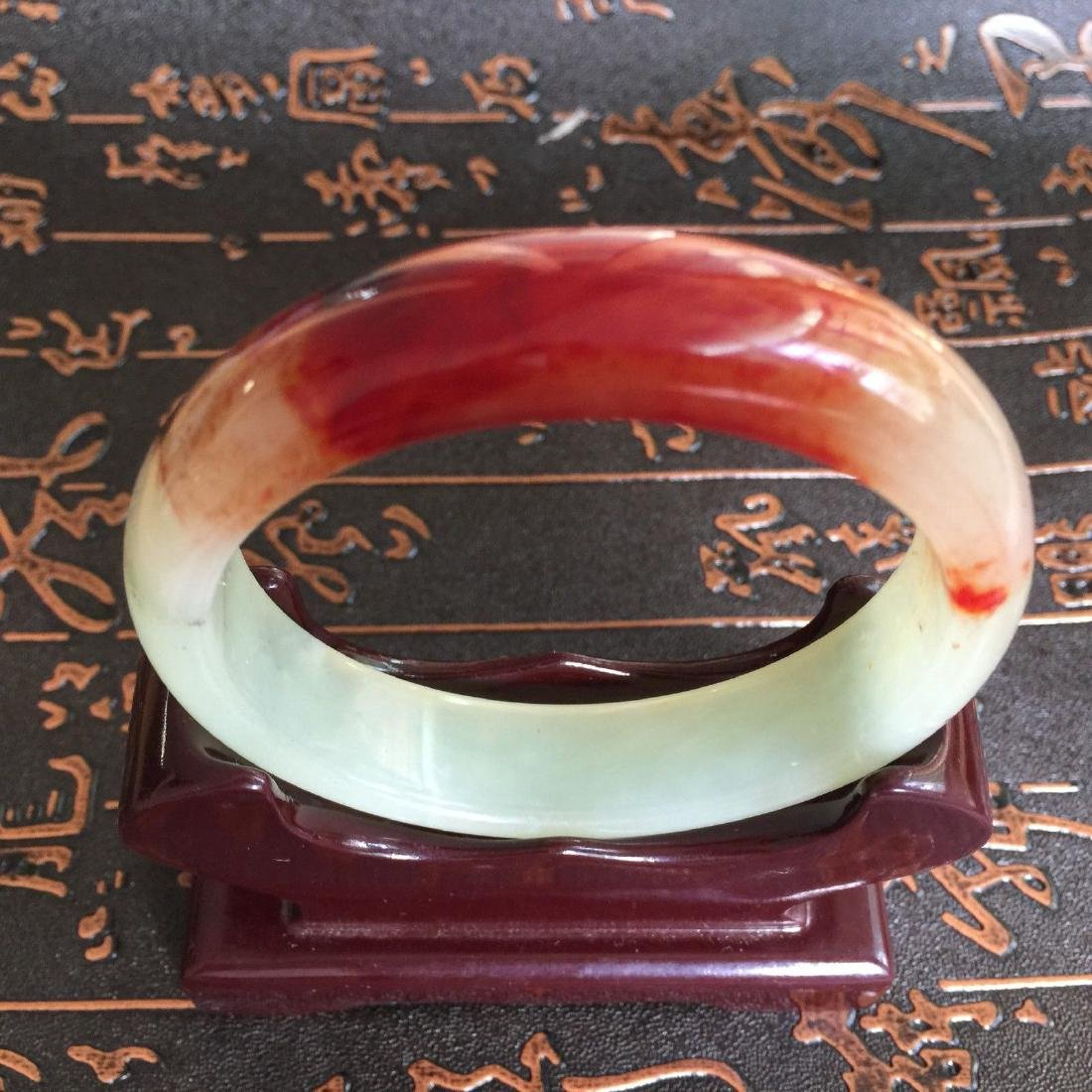Natural Blood Jade Bangle Bracelet - 2