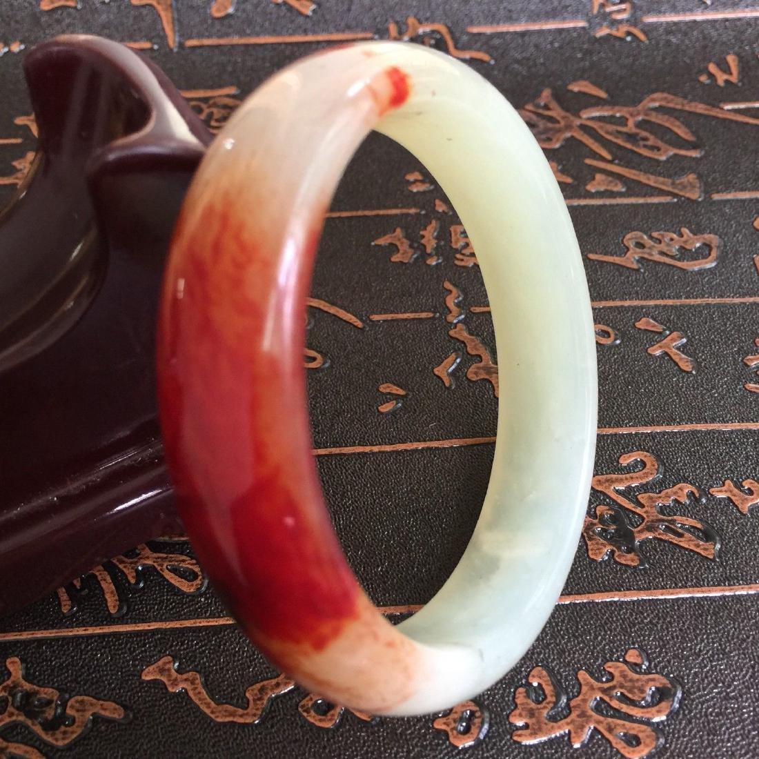 Natural Blood Jade Bangle Bracelet - 3