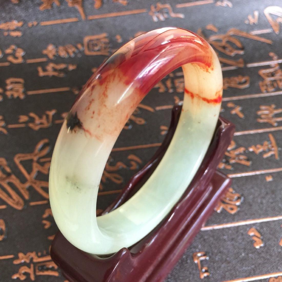 Natural Blood Jade Bangle Bracelet - 4