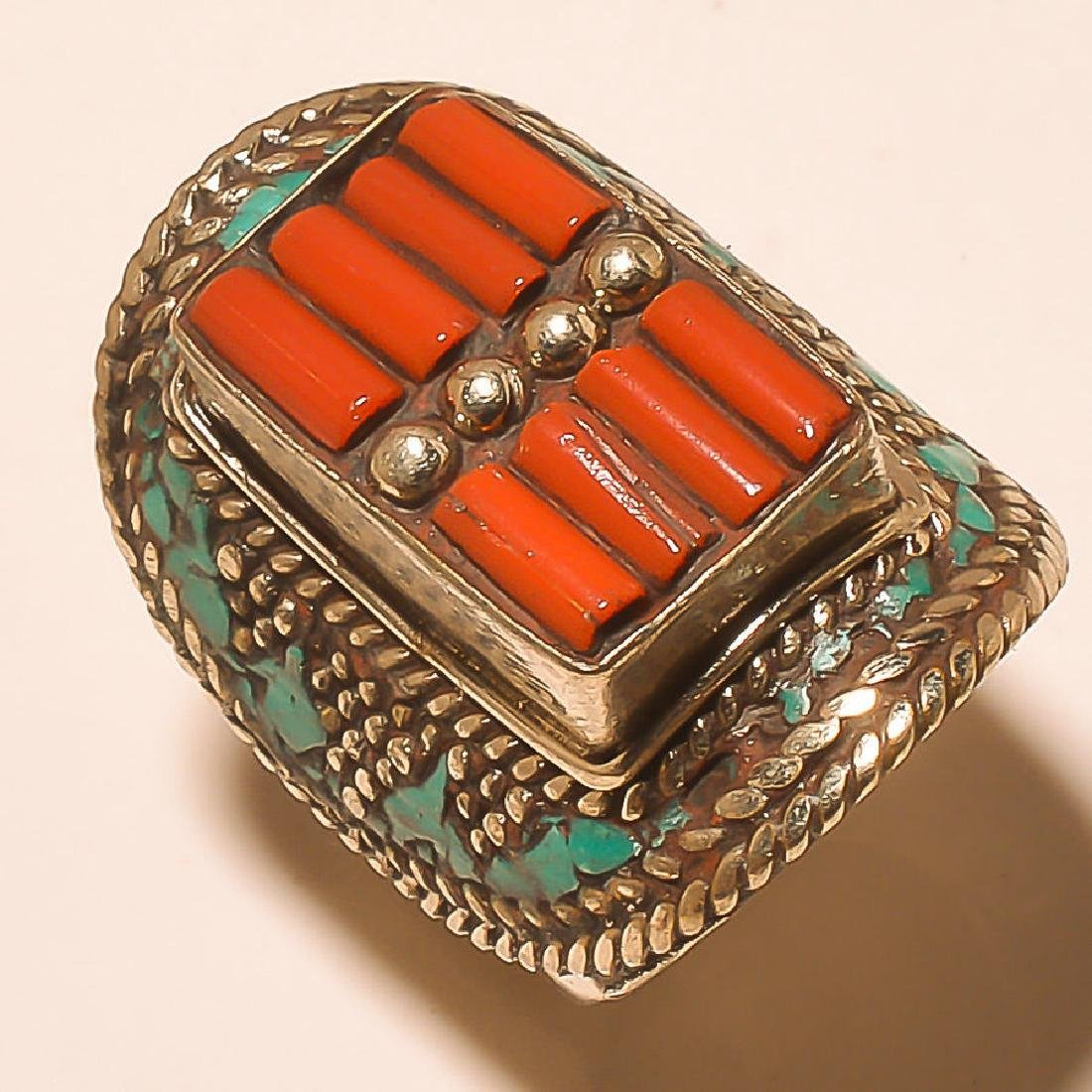 Turquoise-Coral 925 Silver Ring. Size:9