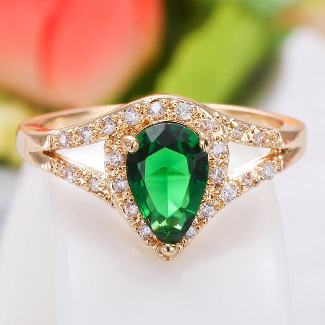Women 14K Yellow GF 2.79ct Emerald Ring Wedding