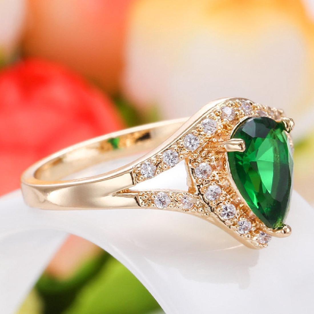 Women 14K Yellow GF 2.79ct Emerald Ring Wedding - 2