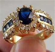 14k Yellow GF Cz Blue Sapphire Wedding Engagement Ring.