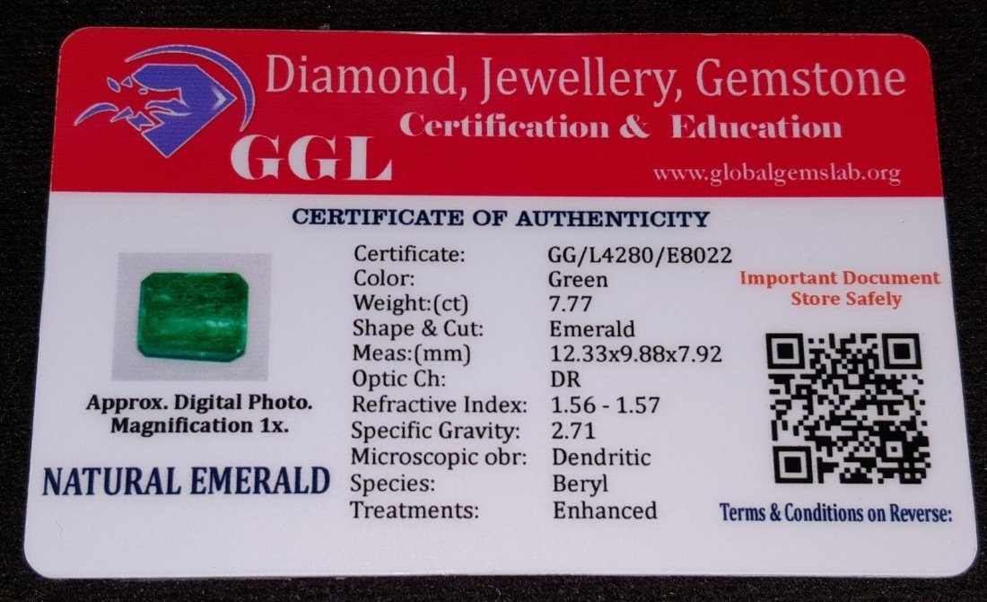 7.77 Ct Natural Certified Colombian Emerald - 4