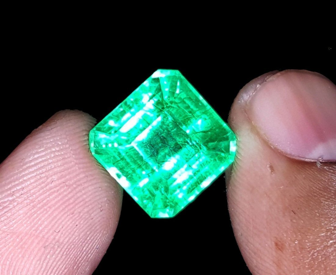 8.97 Ct Square Natural Certificate Colombian Emerald - 2