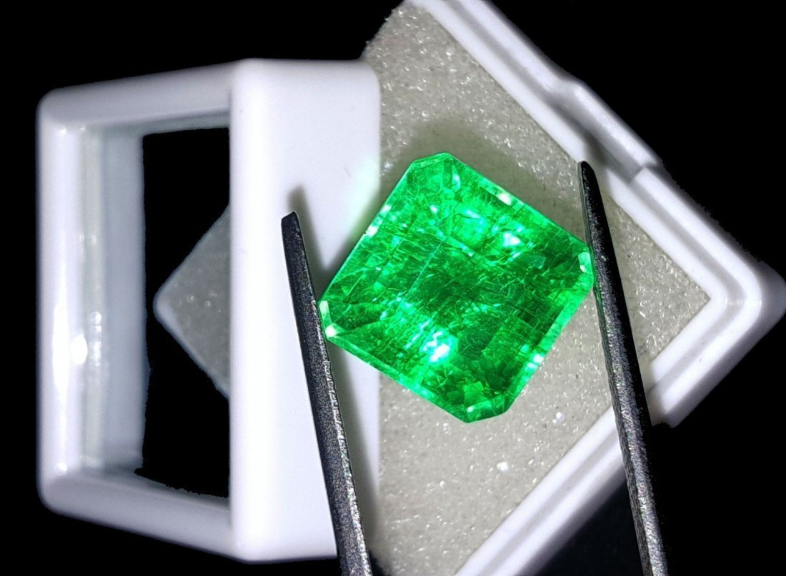 8.97 Ct Square Natural Certificate Colombian Emerald - 3
