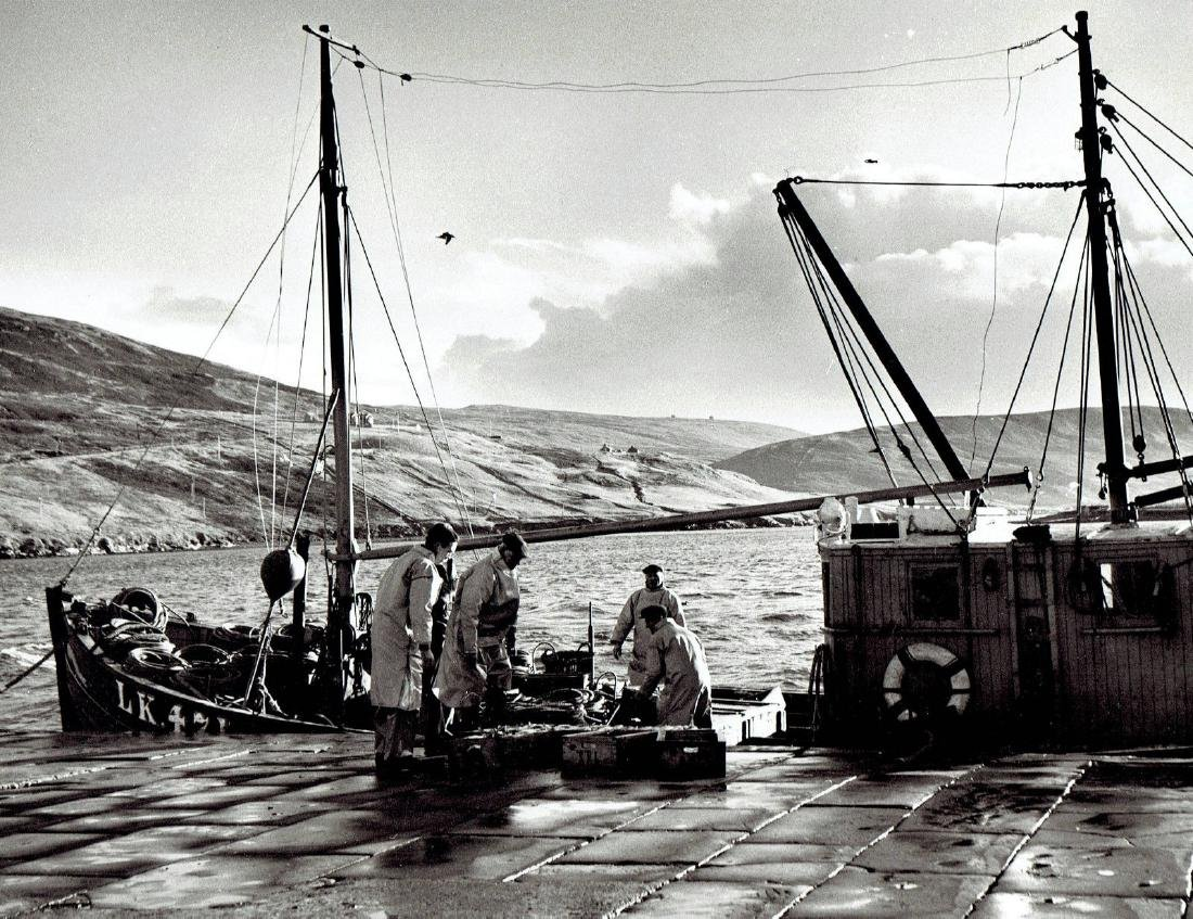 1960 Fisherman dock boat in Scotland fishing trip-Photo