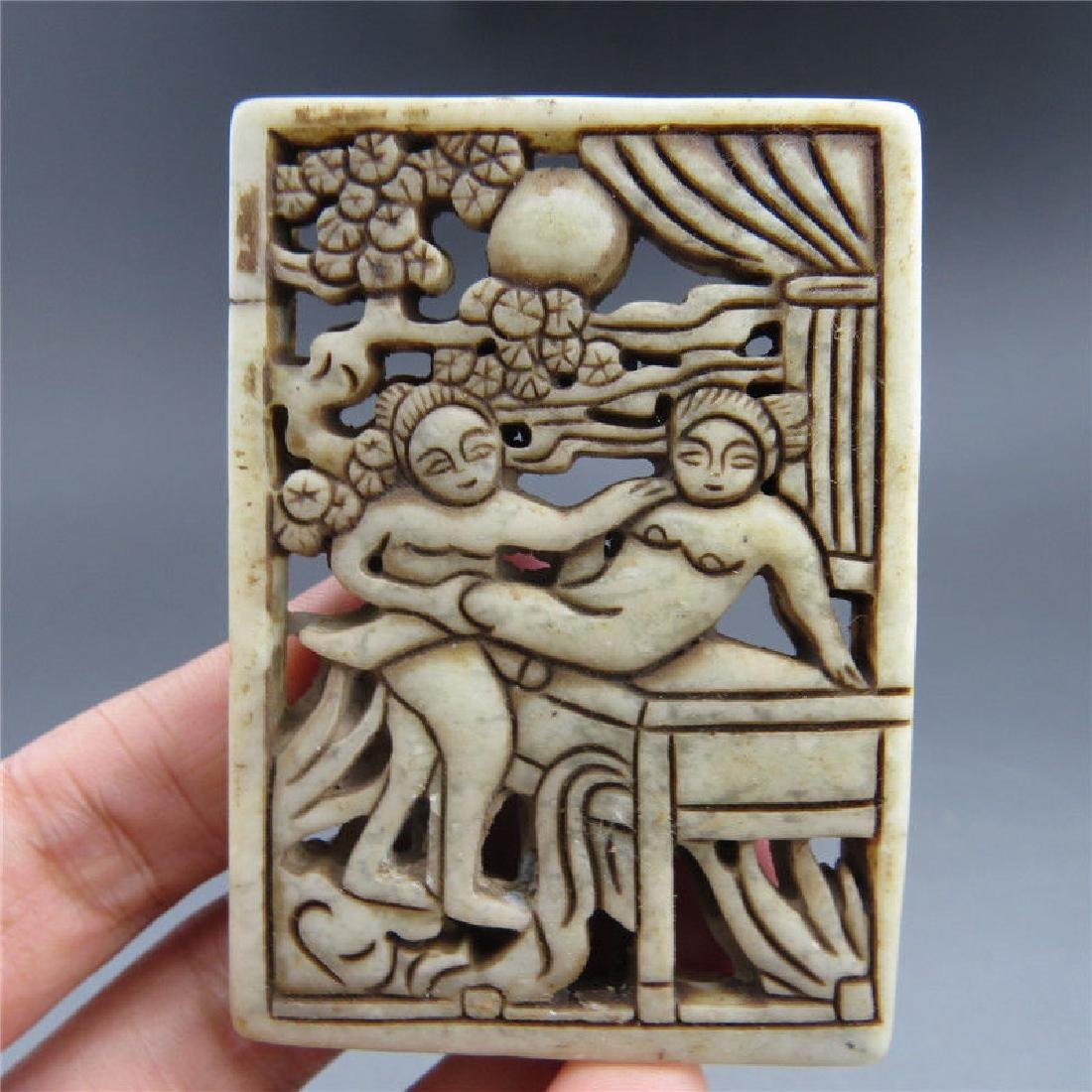 Antique Chinese Jade Hand Carved  Plaque