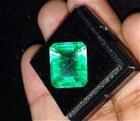 Emerald Shape Certified 9.87 Ct Natural Colombian Gems