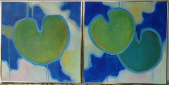 Pair 1980 signed Oil Painting on Canvas
