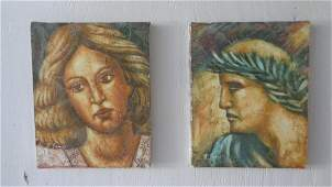 Set Oil Hand Painting Man & Woman, Signed