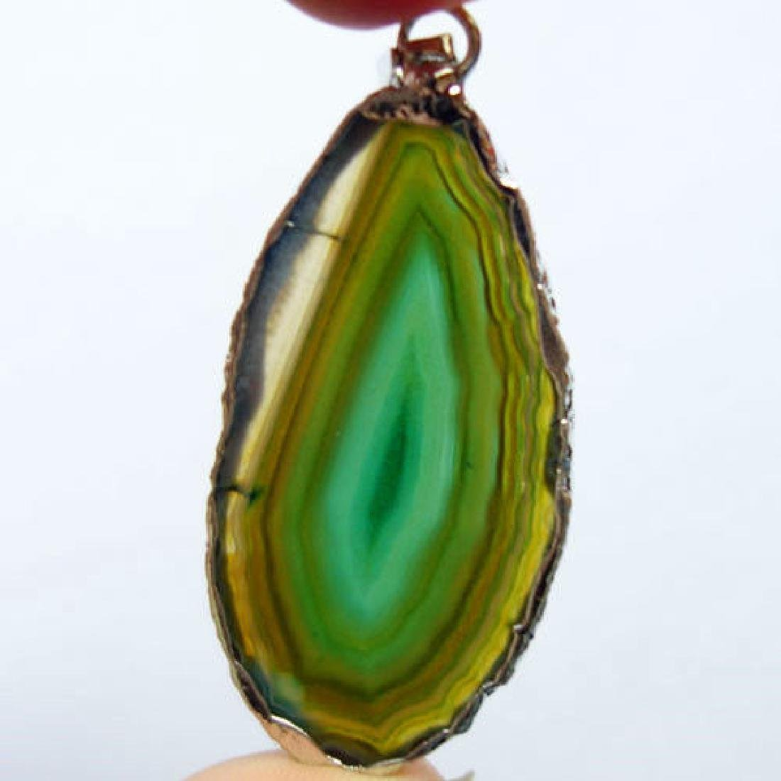 Agate Slice Pendant. Size:55x26x3mm