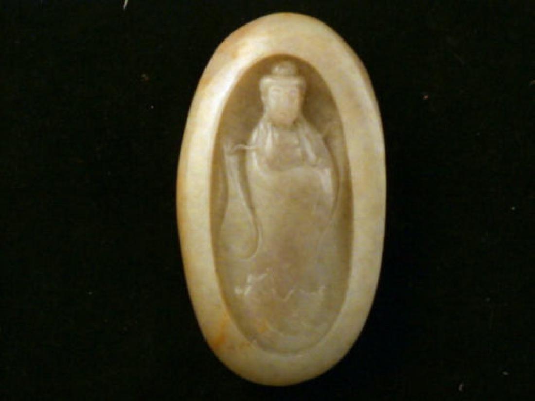Antique Carved HeTian Jade *Bodhisattva* Chinese Jade S