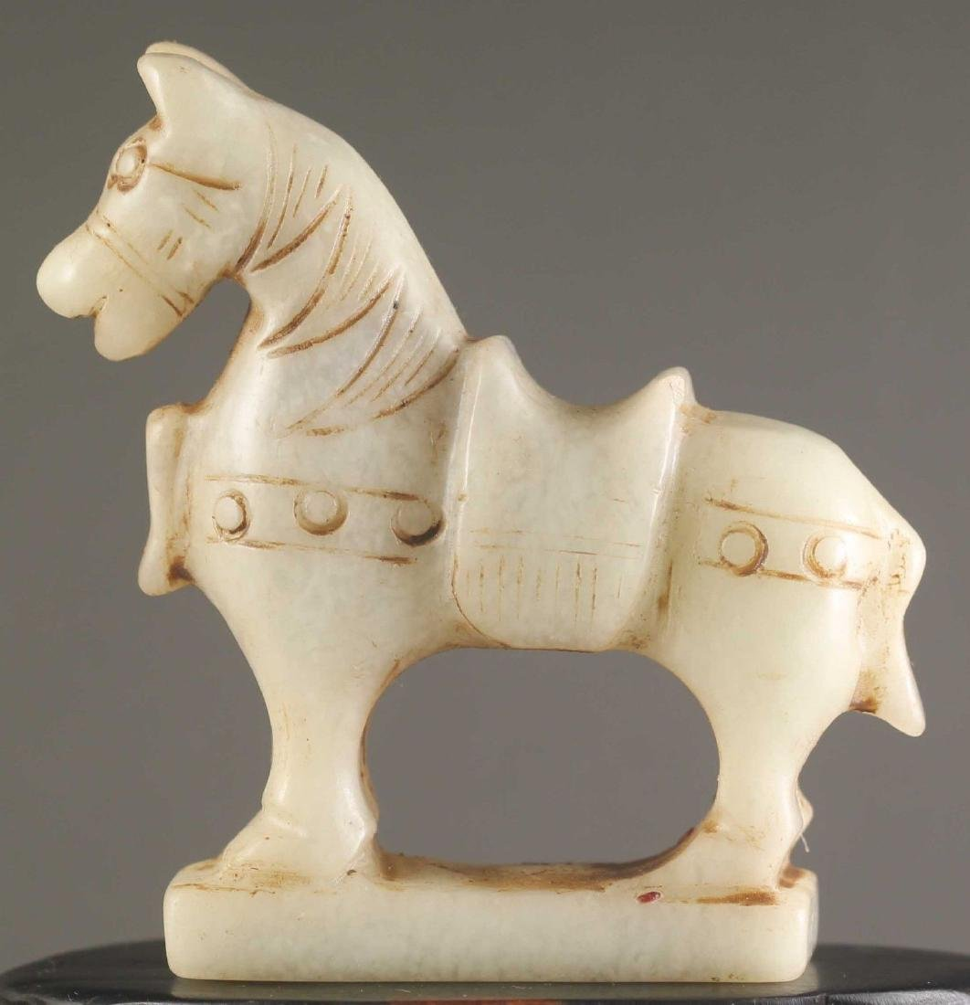 Hand Carved Chinese Jade Horse Sculpture. Size:70 x 73
