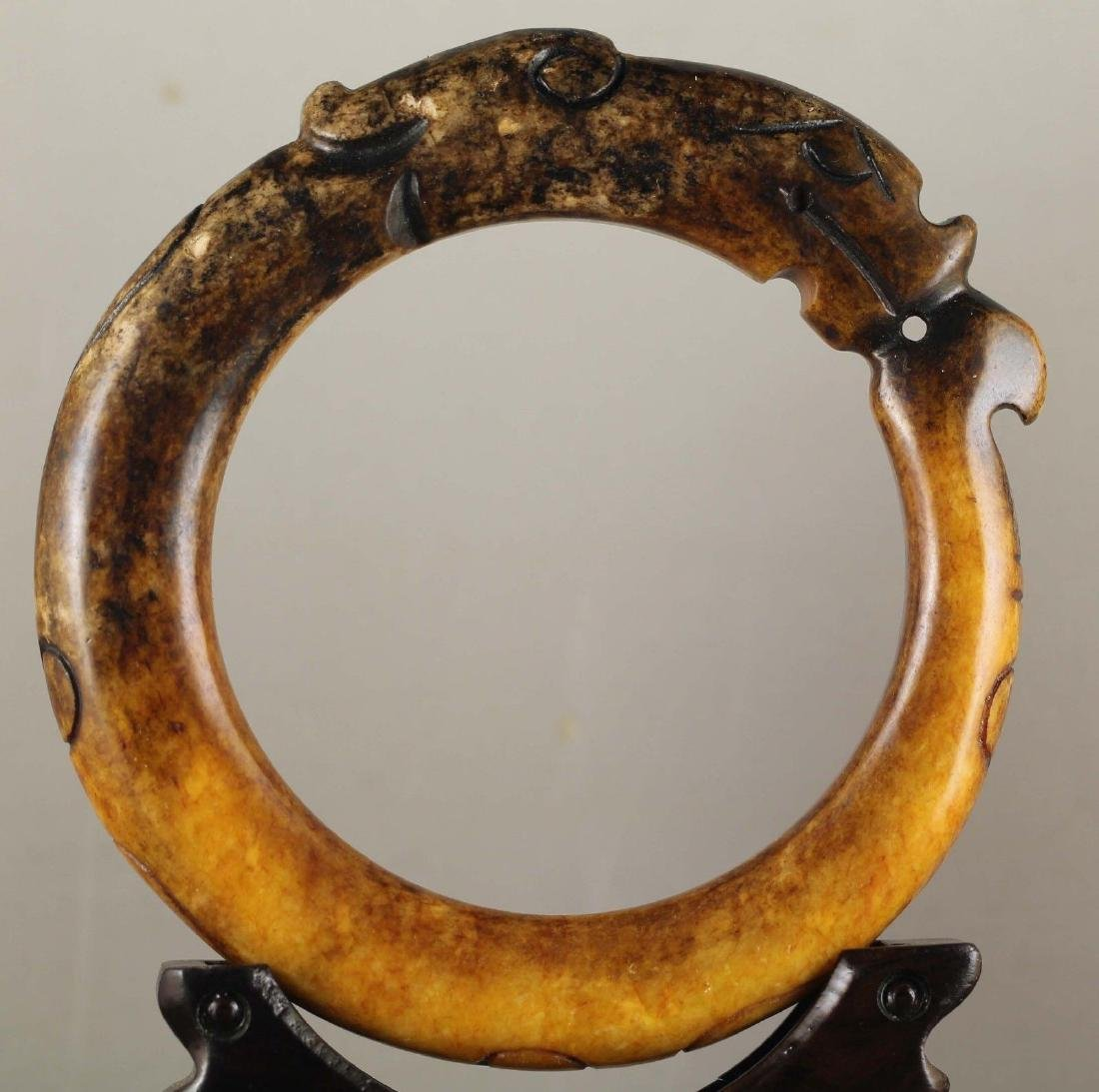 Antique Chinese Natural Jade Carved Bangle
