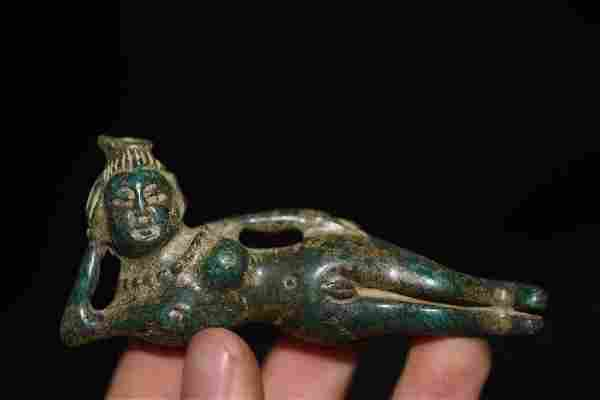 Chinese Hand Carved Male Female Figure Statue. Size:81m