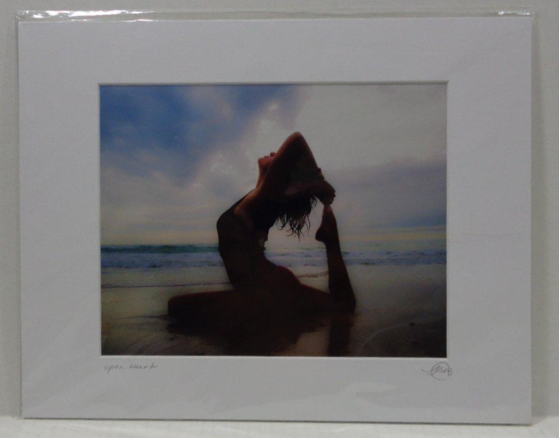Yoga Open Heart Beach Scene Matted Photo Signed