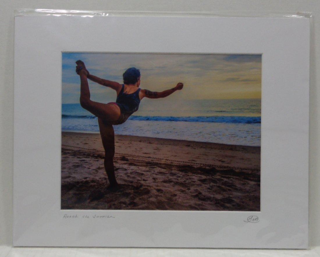 Yoga Reach The Sunrise Beach Scene Matted Photo Signed