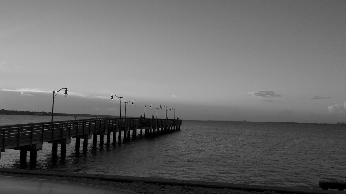 Signed Sea Water Dock Black and White Photo