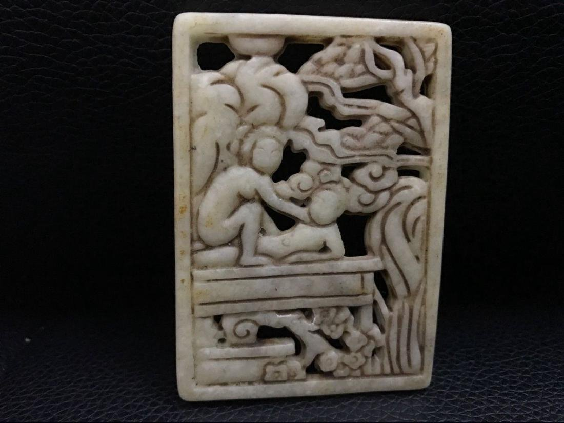 Antique China jade hand-carved pendant
