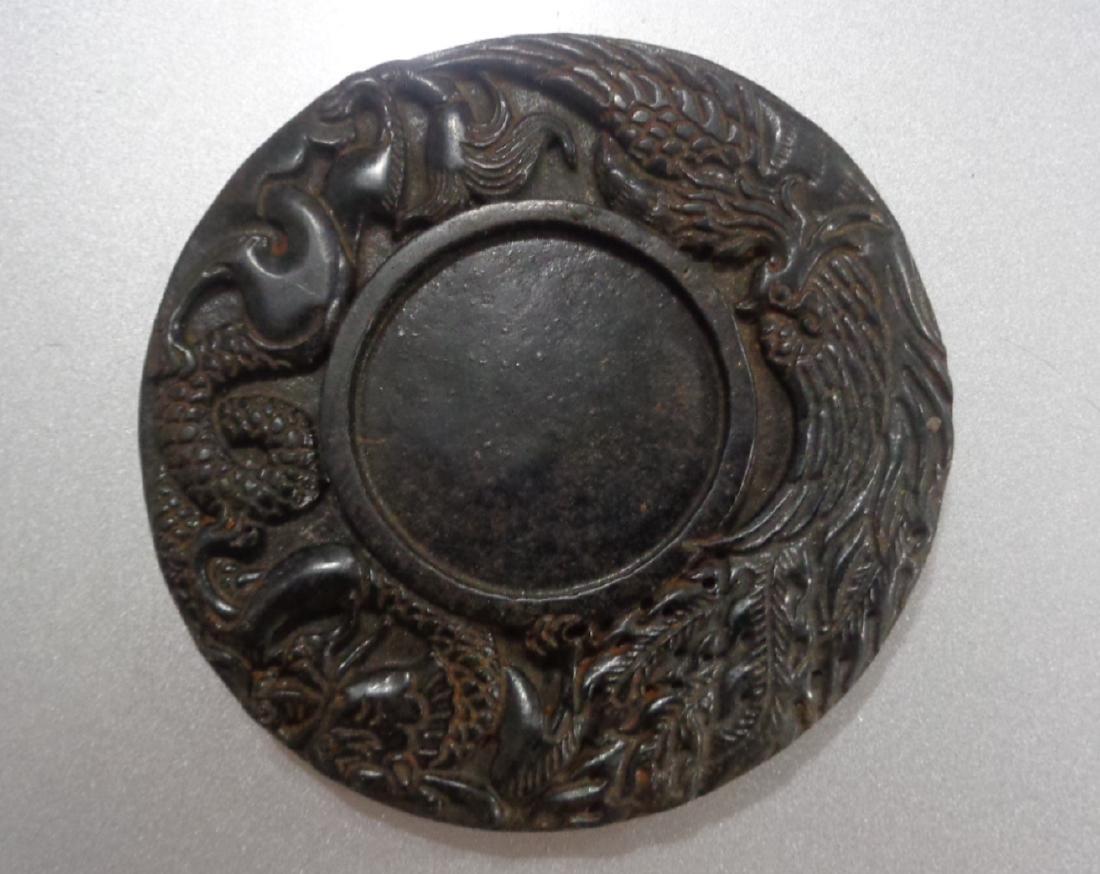 China Jade Carved Dragon & Phoenix Ink Stone
