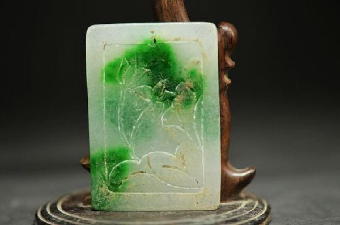 Chinese Jadeite Cade Carving Fish & Lotus Pendant - 3