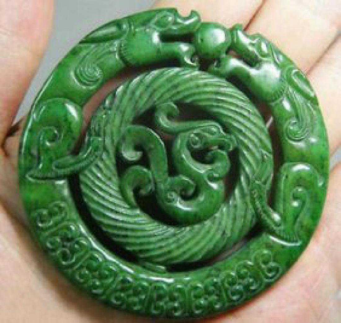 Green Jade Hand Double Face Carved  Dragon Medallion
