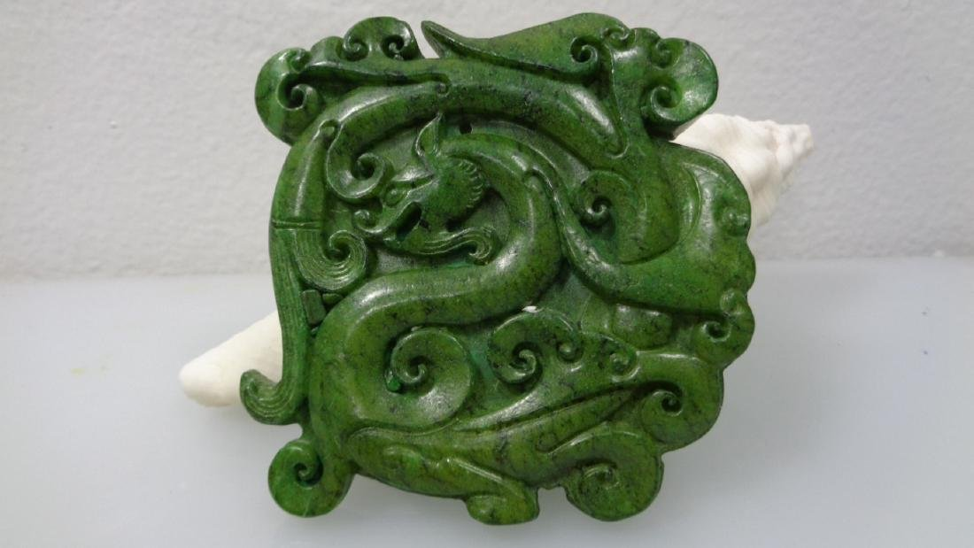 Large Hand-Carved Natural Green Jade Pendant