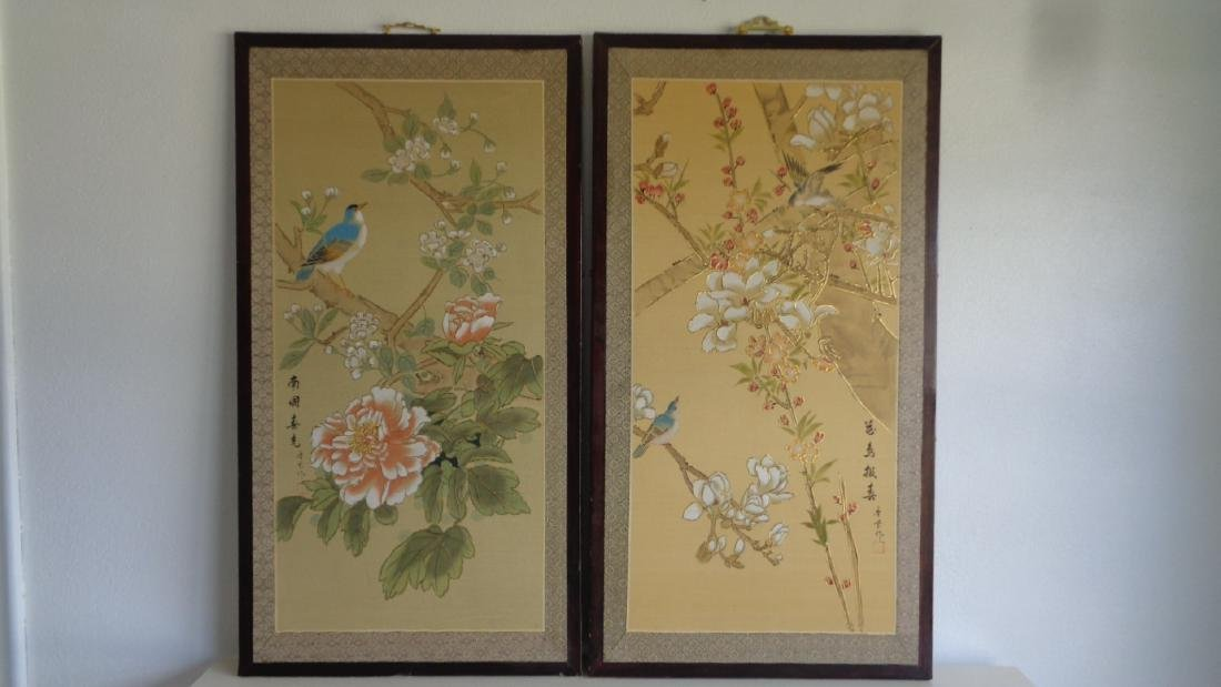 Lot of 2 Hand Painted Chinese Silk Screen Wall Plaque