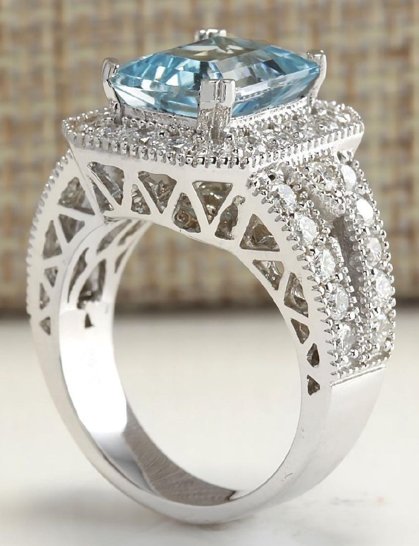 925 Silver  (CZ) Aquamarine & White Topaz  Ring Size:8