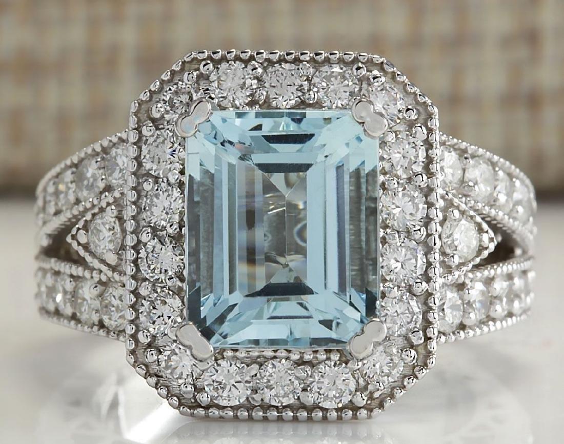 925 Silver  (CZ) Aquamarine & White Topaz  Ring Size:8 - 2