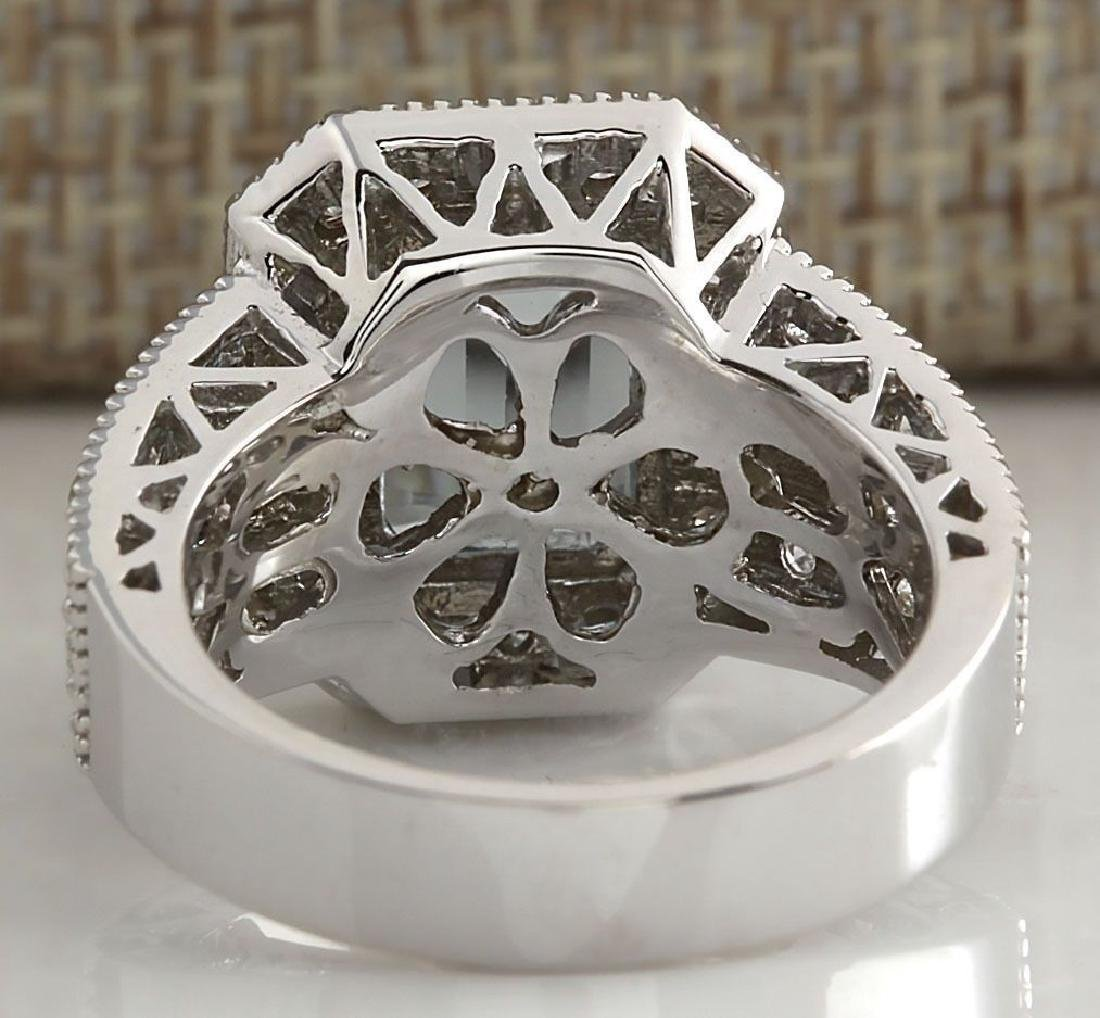 925 Silver  (CZ) Aquamarine & White Topaz  Ring Size:8 - 3