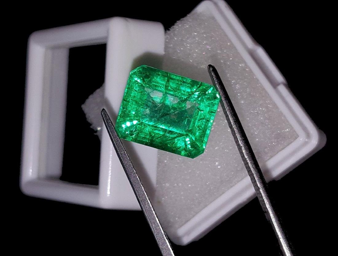 Emerald Shape 8.27 Ct Natural Certificate Colombian - 3
