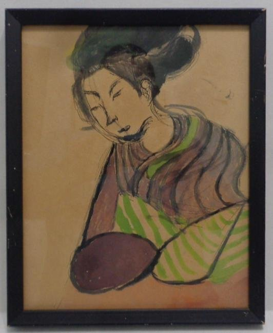 Original Antique Japanese Watercolor - Ink Painting