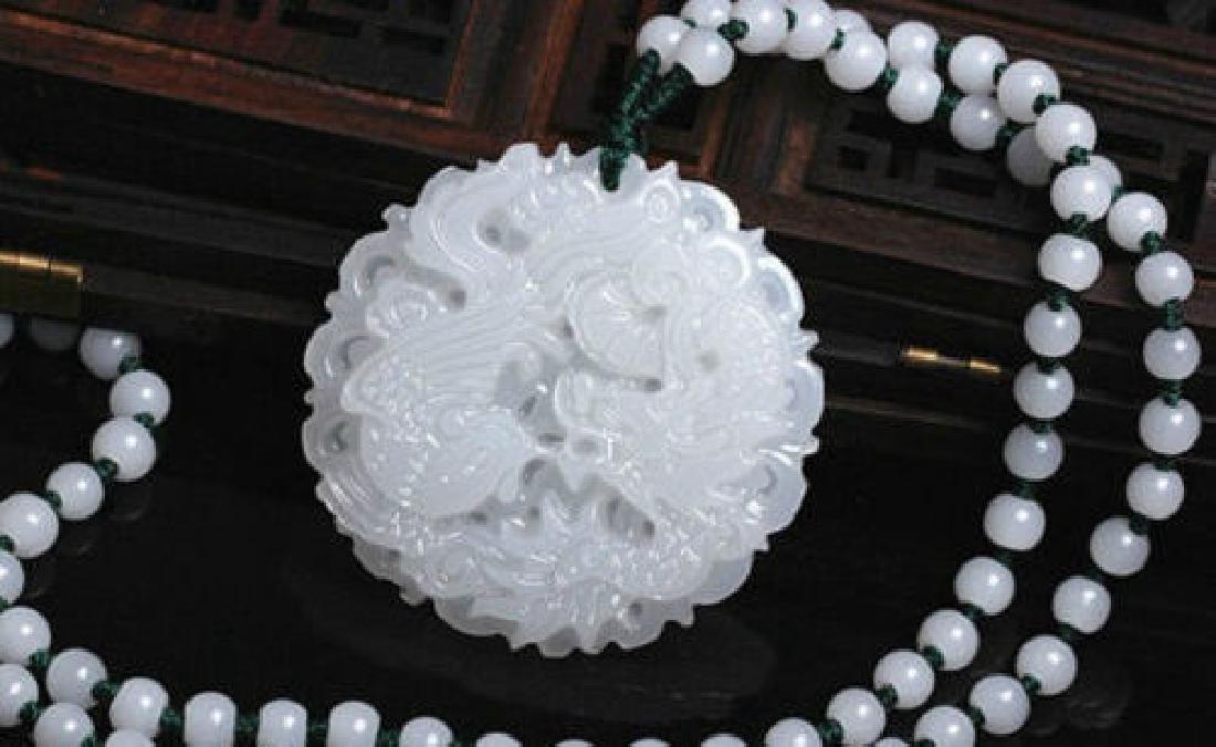 Chinese jade hand-carved pendant Dragon & phoenix