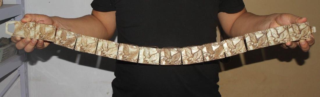 Antique Chinese jade carved jade belt - size:long 85cm*