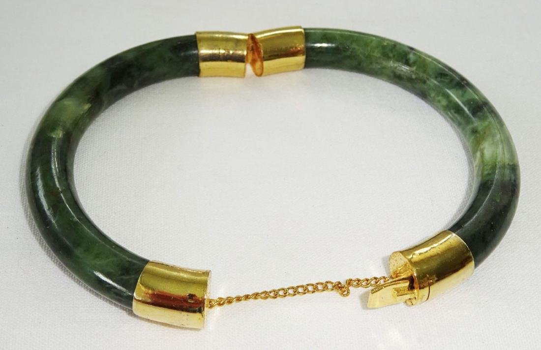 Vintage Green Spinach Jade Bangle 57 mm - 2