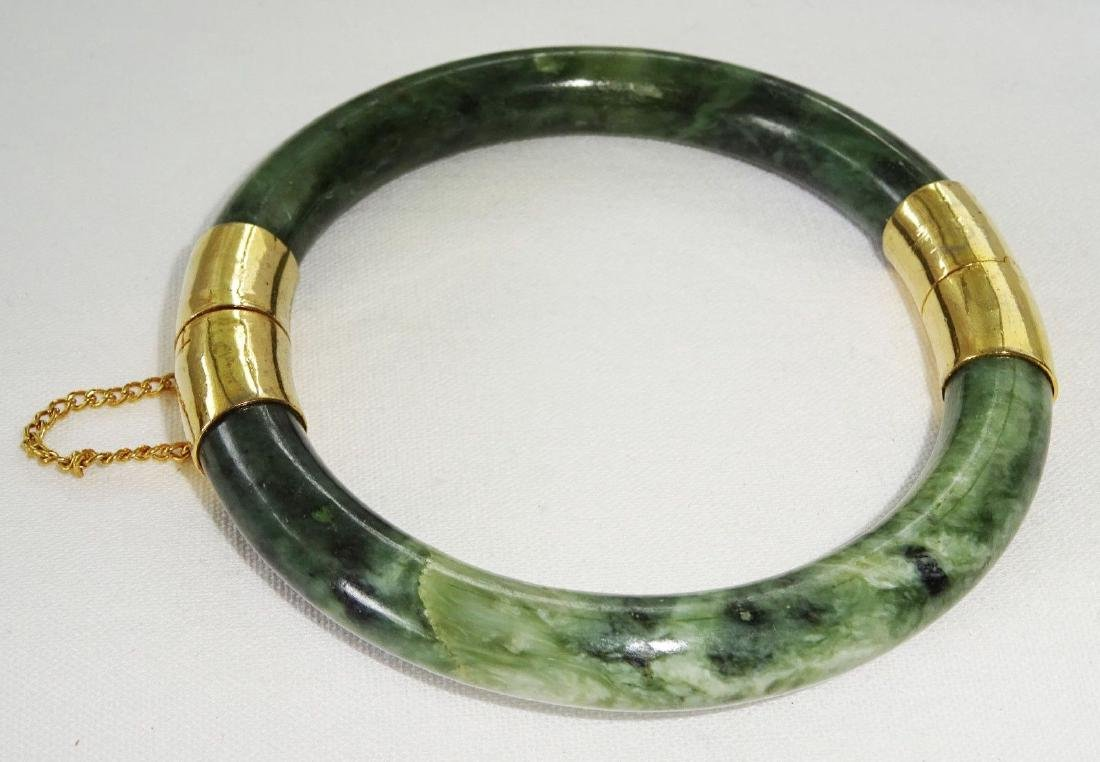Vintage Green Spinach Jade Bangle 57 mm - 3