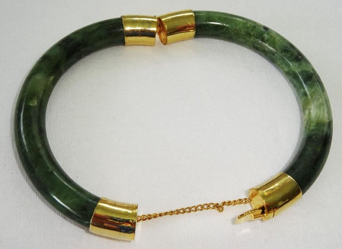 Vintage Green Spinach Jade Bangle 57 mm - 4