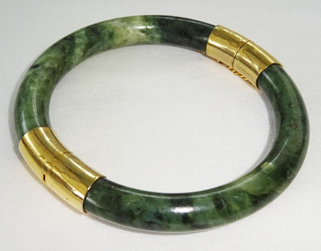 Vintage Green Spinach Jade Bangle 57 mm - 5